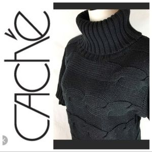 Cache Black Chunky Cableknit Turtleneck Sweater